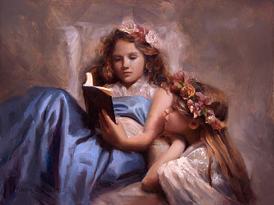 Poster featuring the painting Fairytales And Lace - Portrait Of Girls Reading A Book by Karen Whitworth