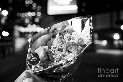falafel sandwich street food wrapped in aluminium foil at night New York City USA Poster