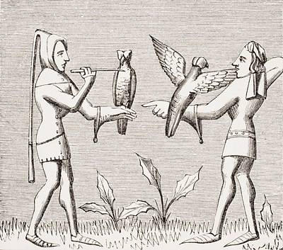 Falconers Dressing Their Birds. 19th Poster