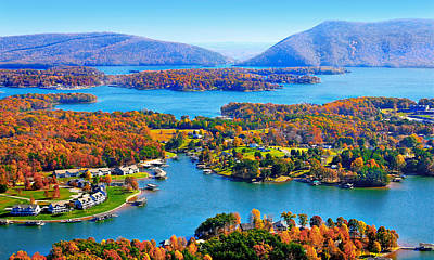 Fall Aerial Smith Mountain Lake Poster by The American Shutterbug Society