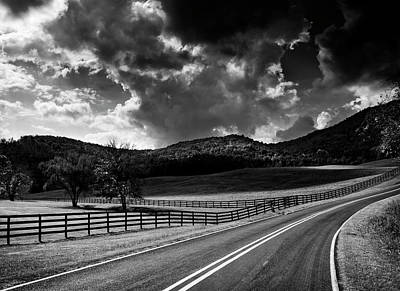 Fall Along Joe Brown Highway In Black And White Poster