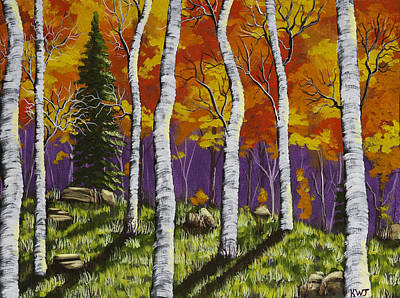 Fall Birch Trees Painting Poster by Keith Webber Jr