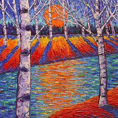 Fall Birches Sunrise 2 Contemporary Impressionist Palette Knife Oil Painting By Ana Maria Edulescu Poster by Ana Maria Edulescu
