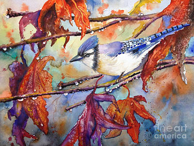Poster featuring the painting Fall Blue Jay by Priti Lathia