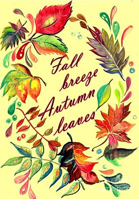Fall Breeze Autumn Leaves Poster by Sweeping Girl