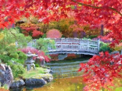 Fall Bridge In Manito Park - Impressionistic Poster by Carol Groenen