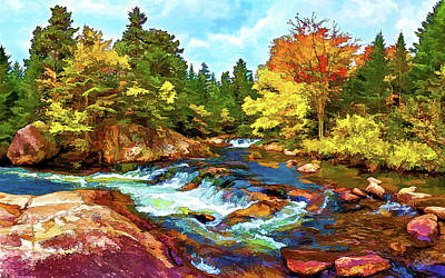 Fall Foliage At Ledge Falls 2 Poster