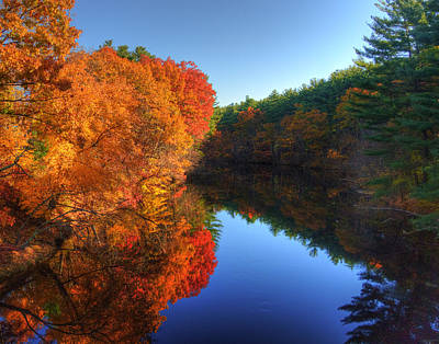 Fall Foliage River Reflections Poster