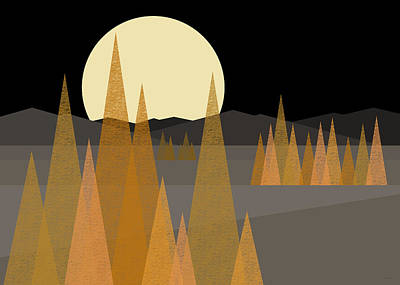 Fall Moon  Poster by Val Arie