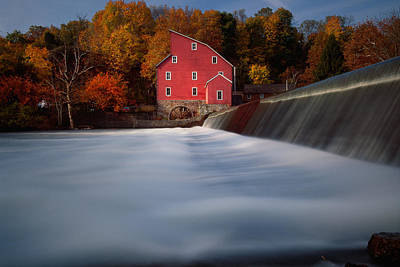 Fall Morning At The Historic Red Mill Poster by George Oze