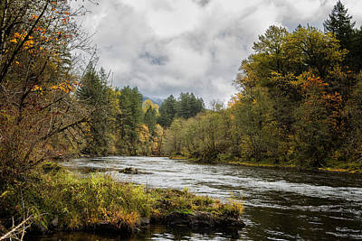 Fall On The Mckenzie River Poster by Belinda Greb
