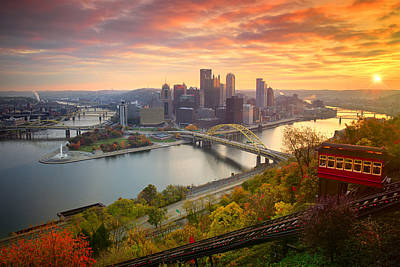 Fall Pittsburgh Skyline  Poster by Emmanuel Panagiotakis