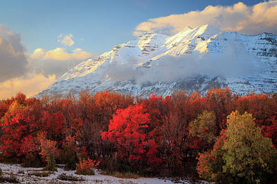 Poster featuring the photograph Fall Snow On Timpanogos. by Johnny Adolphson