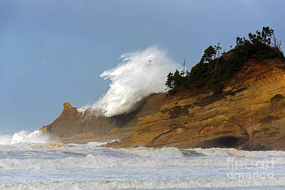 Fall Storm Waves Over Kiwanda Poster