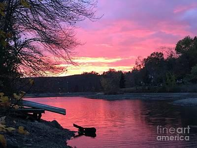 Fall Sunset On The Lake Poster by Jason Nicholas