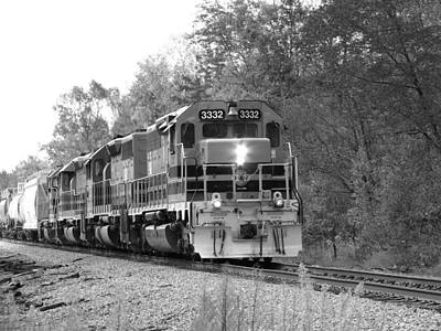 Fall Train In Black And White Poster