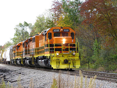Fall Train In Color Poster