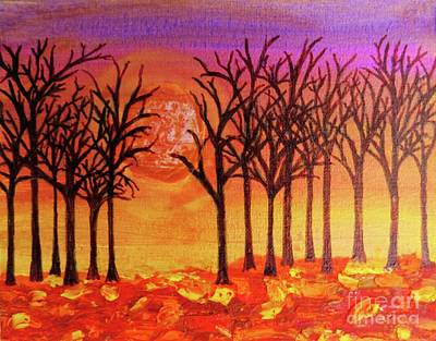 Fall Treeline At Sunset Poster by Desiree Paquette