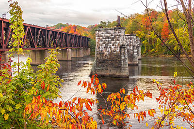 Fall Trestle On The Kennebec Poster by Laurie Breton
