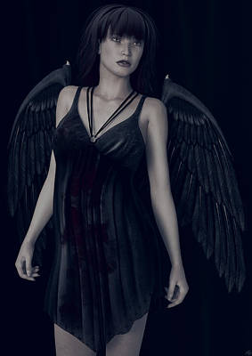 Poster featuring the painting Fallen Angel - Dark And Gothic by Maynard Ellis