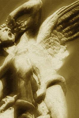 Fallen Angel Vertical Gold Poster by Tony Rubino