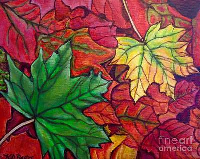 Poster featuring the painting Falling Leaves I Painting by Kimberlee Baxter