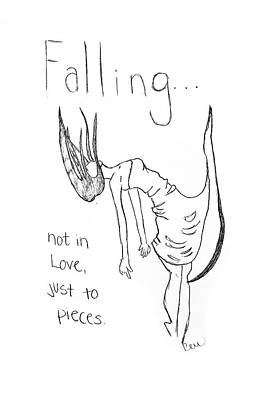 Poster featuring the drawing Falling by Rebecca Wood