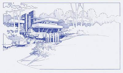Fallingwater Blueprint Poster