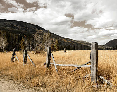 Fallowfield Weathered Fence Rocky Mountain National Park Dramatic Sky Poster by John Stephens