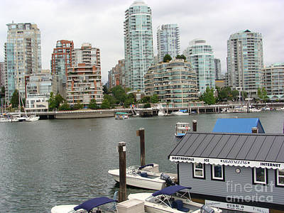 Poster featuring the painting False Creek Vancouver by Rod Jellison