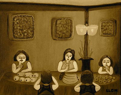 Family Dinner Sepia Poster by Lorna Maza