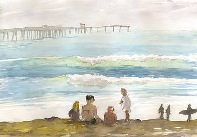 Poster featuring the painting Family Enjoying The Beach by Brian Meyer