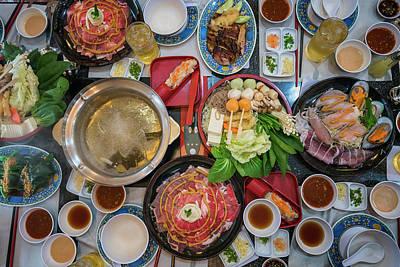 Family Marty With Sukiyaki Seafood And Beef Shabu Poster by Anek Suwannaphoom
