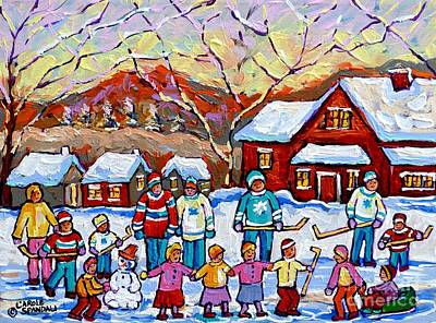 Family Skating Party Paintings Of Children Playing Canadian Country Winter Scene  Art Carole Spandau Poster by Carole Spandau