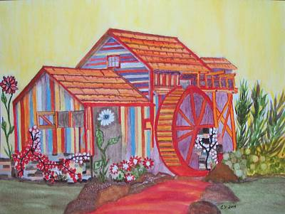 Poster featuring the painting Fanasty Waterwheel by Connie Valasco
