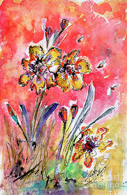 Poster featuring the painting Fancy Irises Flower Watercolor by Ginette Callaway