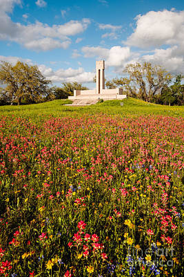 Fannin Monument And Memorial With Wildflowers In Goliad - Coastal Bend South Texas Poster