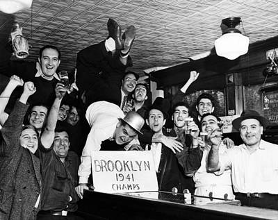 Fans Cheer A Brooklyn Dodgers Pennant Poster by Everett