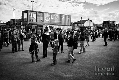 fans in the new fan zone at Liverpool FC anfield stadium Liverpool Merseyside UK Poster