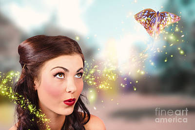 Fantasy Fine Art Beauty. Fairy Tale Butterflies Poster
