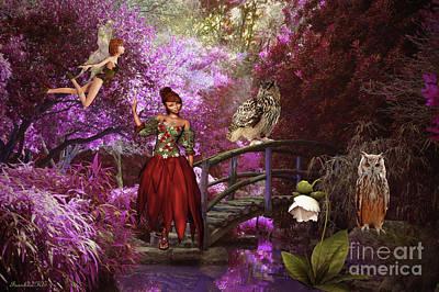 Fantasy Garden Sanctuary Poster by KaFra Art