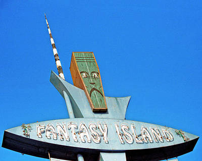 Poster featuring the photograph Fantasy Island Sign by Matthew Bamberg