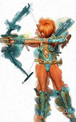 Fantasy Warrior Woman By Mary Bassett Poster by Mary Bassett
