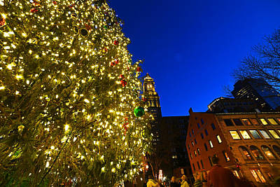 Fanueil Hall Christmas Tree Bostom Ma Quincy Market Custom House 2 Poster by Toby McGuire