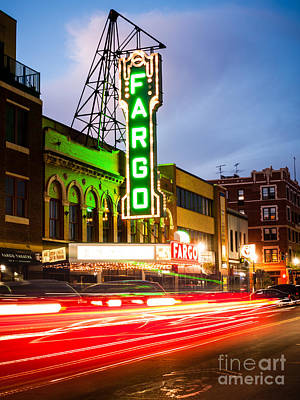 Fargo Theatre And Downtown Buidlings At Night Poster