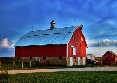 Farm At Sunset - Iowa Poster
