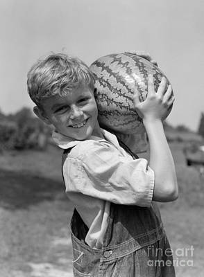 Farm Boy Carrying Watermelon, C.1930s Poster by H. Armstrong Roberts/ClassicStock
