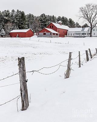 Farm Buildings In Winter Poster