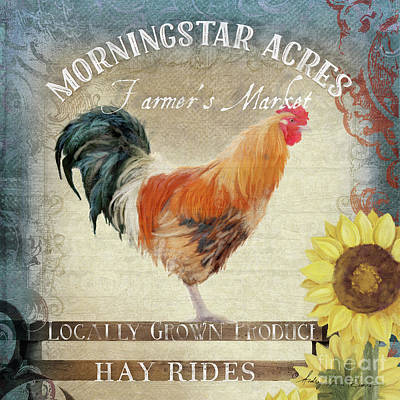 Poster featuring the painting Farm Fresh Barnyard Rooster Morning Sunflower Rustic by Audrey Jeanne Roberts