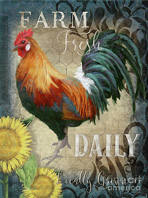 Poster featuring the painting Farm Fresh Daily Red Rooster Sunflower Farmhouse Chic by Audrey Jeanne Roberts